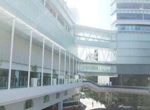 ターミナル駅から百貨店の連絡橋